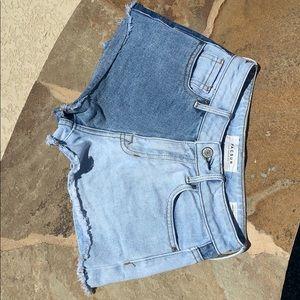 color blocked denim shorts